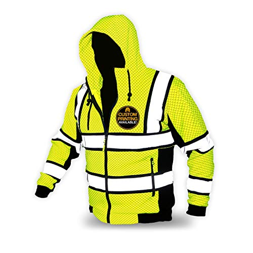KwikSafety (Charlotte, NC) SAGE (Premium Quilted Stitching) Class 3 Type R High Visibility Safety Jacket Hoodie Jacquard Fabric ANSI OSHA Lightweight Reflective Construction Workwear | Yellow X-Large