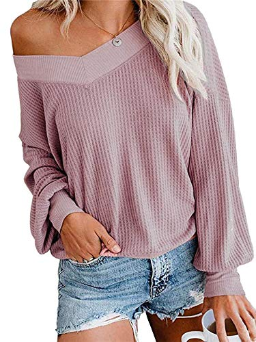 kenoce Pullover Damen Schulterfrei Langarmshirt Sexy Chic Oberteile Casual Loose Strickpullover C-rosa S