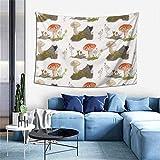 Tapices de otoño de setas en el bosque, paisajes naturales, mantas de playa verdes, paño de picnic, cubierta de sofá, decoración del hogar para colgar en la pared, 203 x 152 cm