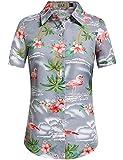 SSLR Camisa hawaiana de manga corta para mujer, diseño de flamencos en 3D, para el tiempo libre, aloha gris S