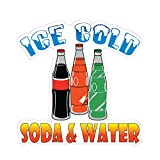 Ice Cold Soda and Water Concession Restaurant Food Truck Die-Cut Vinyl Sticker 10 inches