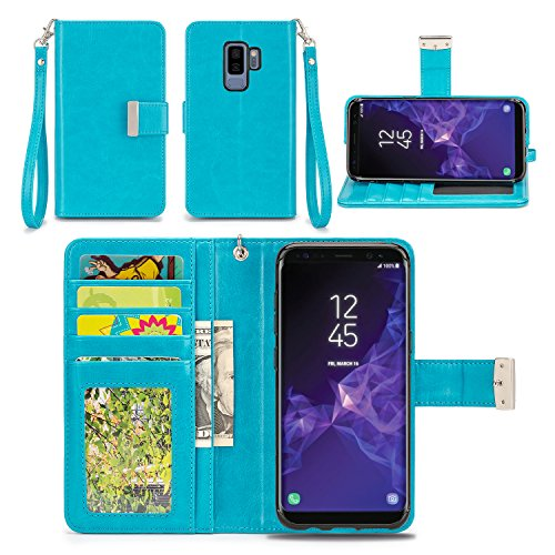 IZENGATE Wallet Case Designed for Samsung Galaxy S9 Plus - PU Leather Flip Cover Folio with Stand (Turquoise Blue)