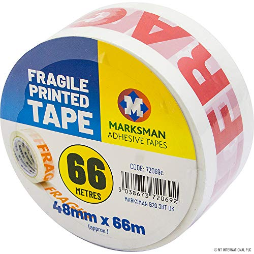 10 X ROLLS FRAGILE PRINTED 48MM X 66M CARTON SEALING PARCEL PACKAGING TAPE NEW