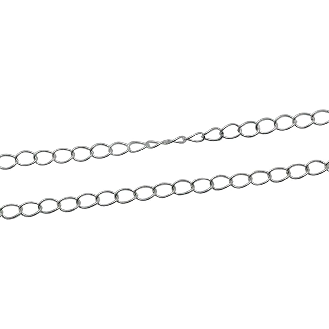 925 Sterling Silver Bulk Chain Cable Chain Unfinished Chains for Jewelry Making 3 Feet Per Lot (2.6x3.9mm, Silver Plated)