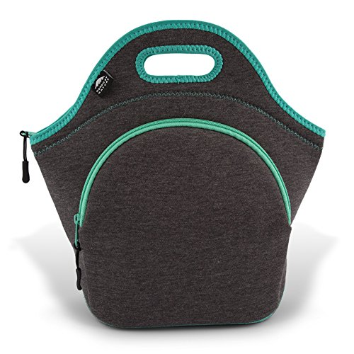 Nordic By Nature Large Neoprene Lunch Bag for Women & Lunch Tote For Kids Insulated Lunch Bag Reusable Washable Neoprene with Soft Cotton Feel, Premium Stitching, Outside Pocket, (L) Dark Grey/Lagoon