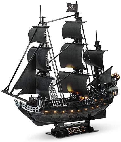 3D Barco Pirata Puzzle LED Velero Embarcaciones Model Kits, Grandes Venganza Difíciles Rompecabezas De Negro Reina Anne Con Luces Led Moto Acuática Regalo Para Los Hombres De Las Mujeres, 340 Piezas