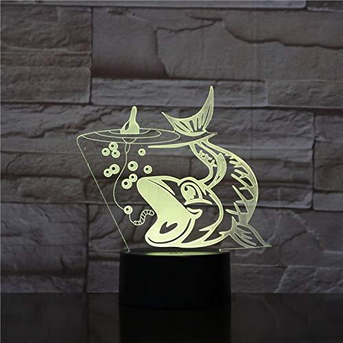 Forma de pesca Mood Animal Party Night Light 3D LED Lámpara de mesa niños regalo de cumpleaños decoración de la habitación junto a la cama