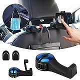 2 ganchos para reposacabezas de coche, colgador de reposacabezas de coche con soporte para teléfono, clip organizador de asiento trasero de coche para bolso, bolso de teléfono inteligente
