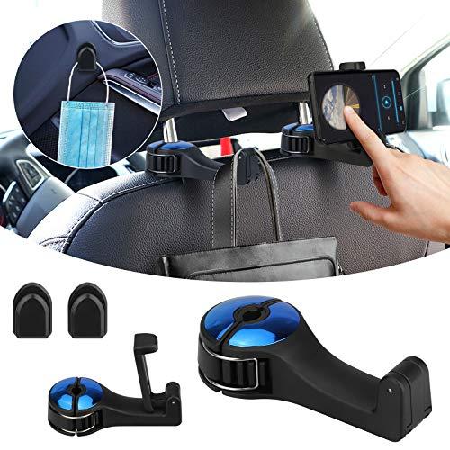 2 crochets d'appui-tête de voiture, cintre d'appui-tête de voiture avec support de téléphone, clip d'organisateur de siège arrière de voiture pour sac sac d'épicerie de manteau de tissu