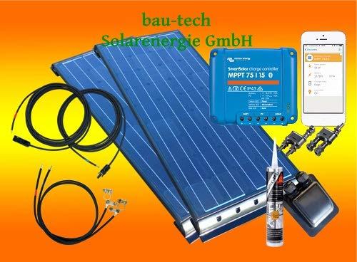 bau-tech Solarenergie 200Watt Wohnmobil Solaranlage in schwarz mit Victron Smartsolar MPPT Laderegler als komplett Set