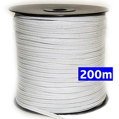Goma elástica costura blanca 200m, 4mm. Cordón elástico para manualidades y confección. Rollo de cinta elástico para costura. (200 metros).