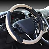 SEG Direct Black and Beige Microfiber Leather Auto Car Steering Wheel Cover Universal 15 i...
