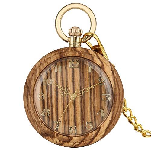 Klassische Quarz-Taschenuhr für Damen, modische Kettenanhänger Uhren für Herren, Premium-Holz-Taschenuhr für Jungen