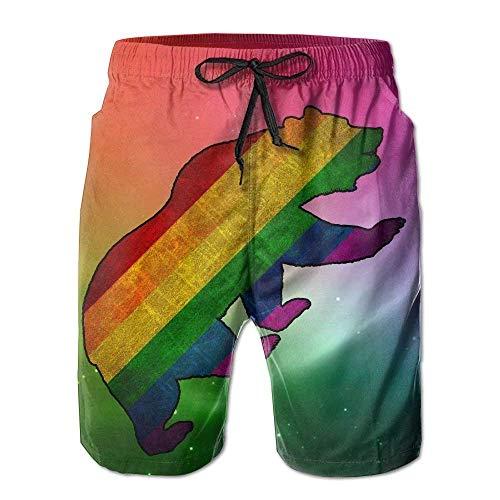 BAODANLA Badeshorts für Herren,Herren-Badehose Sexy Lovely Handsome Rainbow Pride Flag with Gay Bear Men's Summer Swim Board Shorts