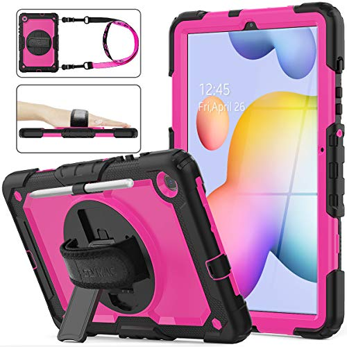 Galaxy Tab S6 Lite 10.4 Case 2020 (P610/P615), SEYMAC Stock [Full-body] Drop Proof Case with [360 Rotating Stand] Pen Holder[Screen protector] Hand Strap for Samsung Tab S6 Lite 10.4 2020 (Rose+Black)