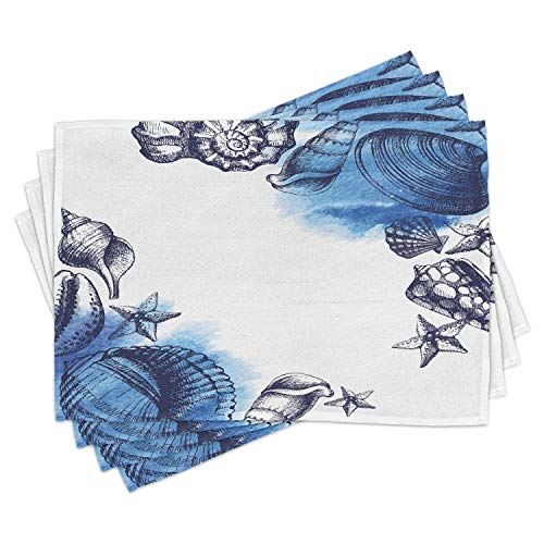 Ambesonne Ocean Place Mats Set of 4, Sealife Sea Shells and Sand Stones Deep Water Star Fish Blue Toned Design, Washable Fabric Placemats for Dining Table, Standard Size, Blue White