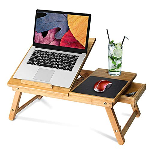 XIONGGG Lap Desk, Foldable Bed Tray Breakfast Table, Adjustable Computer Desk for Writing Reading Eating, with Tilting Top Drawer