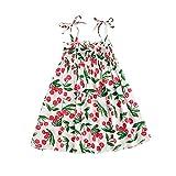 Vestido de Verano para niñas con Hombros Descubiertos sin Mangas con Estampado Frutas y Cerezas Vestido niña Informal de Moda Vestido niña 1-7 años (Blanco, 6-7 Años)