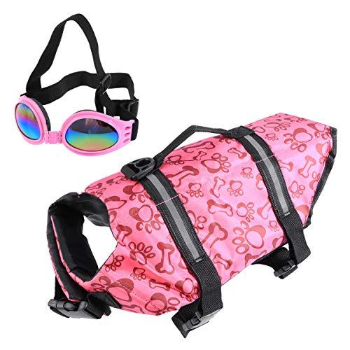 POPETPOP Best Dog Life Jacket Size Adjustable Preserver Life Vest buoyant Lifesaver with pet Glasses Rose red Size L