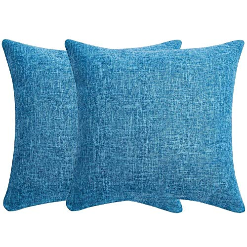 Wilproo Solid Color Pure Blue Cotton Linen Decorative Throw Pillow Case Cushion Cover Pillowcase for Couch Sofa Bed,18 x 18 Inches