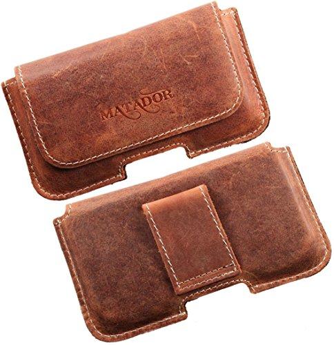 MATADOR Echt Leder Tasche Hülle Hülle Handytasche Gürteltasche Quertasche für Fairphone 2 mit verdecktem Magnetverschluß & Gürtelschlaufe in (Konjak Braun)