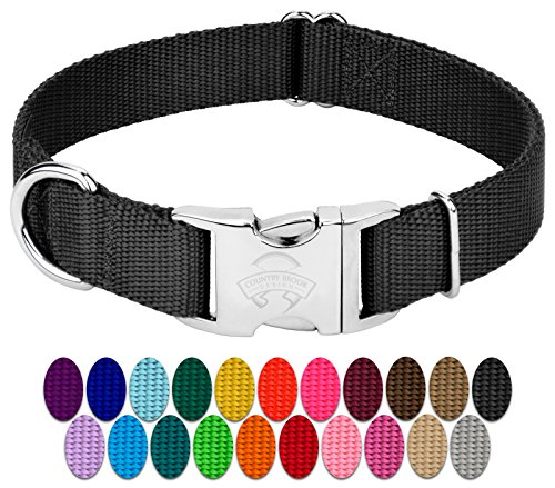 Country Brook Design - Vibrant 25 Color Selection - Premium Nylon Dog Collar with Metal Buckle (Large, 1 Inch, Black)