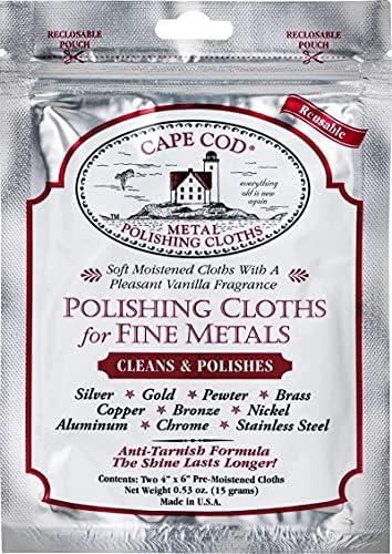 Cape Cod Polish Co Metal Polishing Cloths Foil Pouch 0.53oz, Stainless Steel