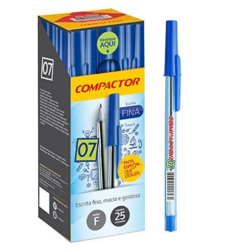Caneta Esferográfica, Compactor 01533-AZ, Azul, 0.7 mm, Pacote de 25