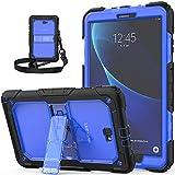 Gerutek Hülle für Samsung Galaxy Tab A T580/T585, Stoßfeste Robust Panzerhülle mit Stände, Handschlaufe, Schultergurt Schutzhülle für Samsung Tab A/A6 10.1 2016, Blau und Transparent