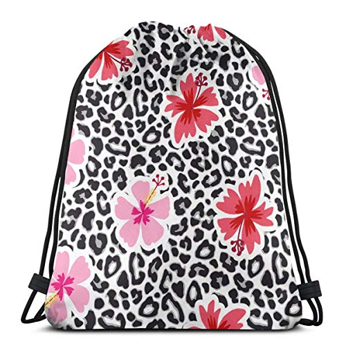 Lsjuee Tropical Background with Hibiscus Flowers Wash Bag Drawstring Toiletry Bag Kids Boys
