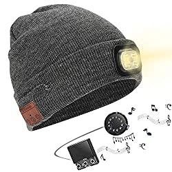 Powcan winter hat with light Wireless Bluetooth 5.0 Music hat 4 LED hat USB rechargeable caps for men women warm knitted hat LED cap light