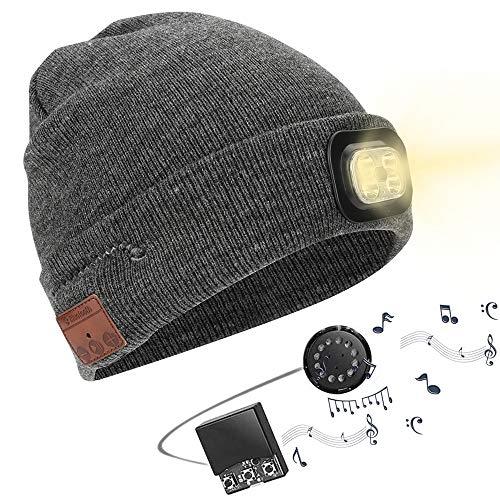 Powcan Gorro Bluetooth con Linterna LED, V5.0 Inalámbricos Sombrero Auriculares Beany, Musical de Punto Hat Invierno con Altavoz Estéreo, Micrófono, Llamadas Manos Libres para Hombres Mujeres
