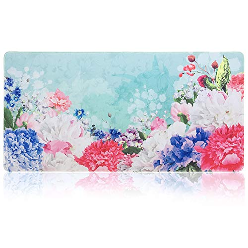 SANFORIN Extra Large Mouse Pad - Flower Design Gaming or Desk Mouse pad - 31.5' x 15.7'x0.12''(3mm Thick)- XXL Protective Mouse Keyboard Desk Mat for Computer/Laptop (White Peony)