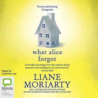 What Alice Forgot                   By:                                                                                                                                 Liane Moriarty                               Narrated by:                                                                                                                                 Caroline Lee                      Length: 15 hrs and 34 mins     1,910 ratings     Overall 4.4