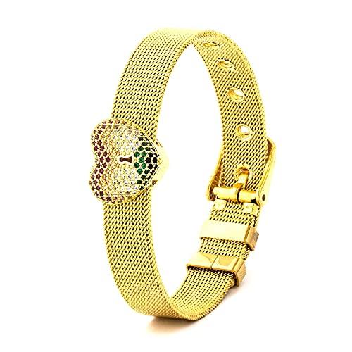 Pulsera Joyas Gran Oferta, Pulseras De Cinturón De Reloj De Malla De Acero Inoxidable para Mujeres, Hombres,Amantes, En Forma De Corazón, Circón, P