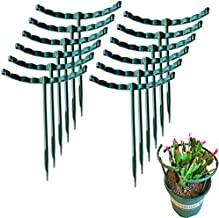 12 Pack Plant Support Garden Flower Support Plant Stakes, Metal Half Round Plant Support Ring Plastic Plant Cage Holder Flower Pot Climbing Trellis for Small Plant Flower Vegetable (5.5 x 5.7 Inch)