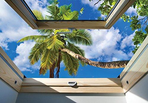 Olimpia Design 10414VEXXXL fotobehang heldere hemel en palm vensterblik