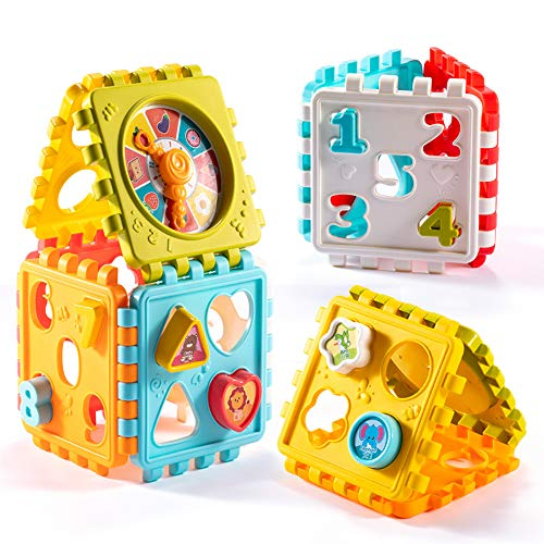 Shape Sorter Baby Toy Activity Cube Educational Toys Sorting Stacking Toys Learning Toys Building Block Puzzles for Kids Toddler Preschoolers Birthday Gifts