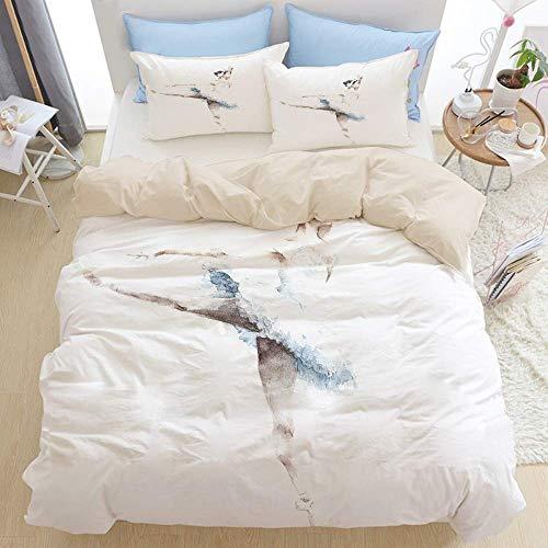 888 Juego de funda de edredón para cama doble, bailarina de ballet, pintura de acuarela sobre fondo blanco, juego de funda de edredón de microfibra, cierre de cremallera con 2 fundas de almohada.