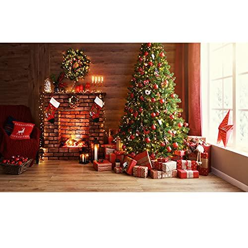 Fondo Fotografía de Navidad, Ci-Fotto 2x1,5m Tablones de Madera Vintage Fondo de árbol de Navidad de Chimenea, Fondo de Decoración de Fiesta en Casa, Fondos de Fotografía para Niños