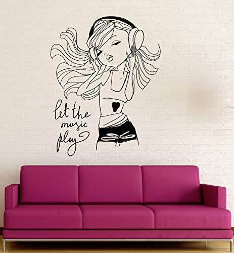 yiyitop Chica disfrutando de la música Pegatinas de Pared Auriculares de Vinilo niñas Juveniles decoración de la habitación del dpersonaje de Dibujos Animados Etiqueta extraíble 56 * 71 cm