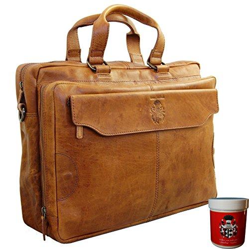 BARON of MALTZAHN Laptoptasche NELSON aus braunem Rodeo-Leder + Lederpflege