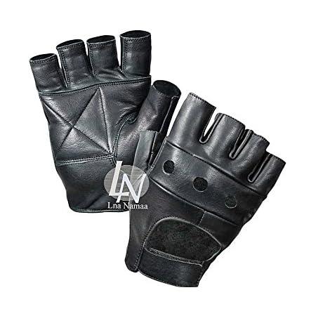 Half Finger Cycling Gloves Bus Driving Wheelchair Fingerless Bike Leather Gym UK