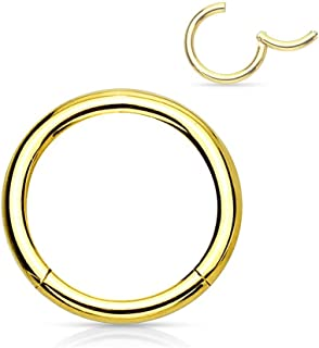 Forbidden Body Jewelry 14G-18G Surgical Steel Hinged Easy Use Seamless Hoop Body Piercing Ring (Sold Individually)