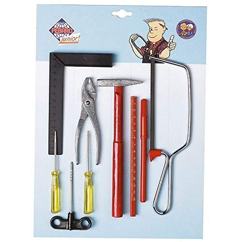 Kleine knutselset voor zaag, tang, schroevendraaier, hamer, liniaal, hoekmes, punt, vilt