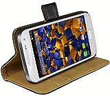 mumbi Echt Leder Bookstyle Hülle kompatibel mit Samsung Galaxy S4 mini Hülle Leder Tasche Hülle Wallet, schwarz