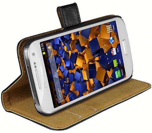 mumbi Echt Leder Bookstyle Case kompatibel mit Samsung Galaxy S4 mini Hülle Leder Tasche Case Wallet, schwarz