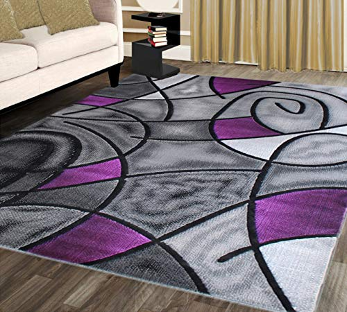 Modern Purple and Grey Decorative Area Rug