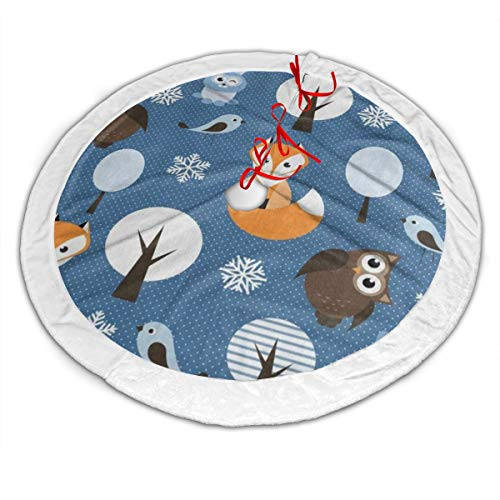 Winter Forest Animal Fox Owl Rabbit Christmas Tree Skirt 30' Plush White Faux Fur Small Christmas Tree Skirt Mat for Xmas New Year Decorations Ornaments Holiday Party Gifts Outdoor Indoor
