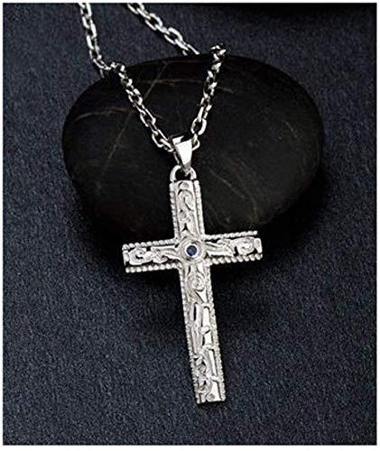 NC110 Collar con Colgante de Cruz de Hombre de Plata de Ley 925, Cadena de Acero de Titanio/Regalo de Cadena de Plata para Novio e Hijo YUAHJIGE
